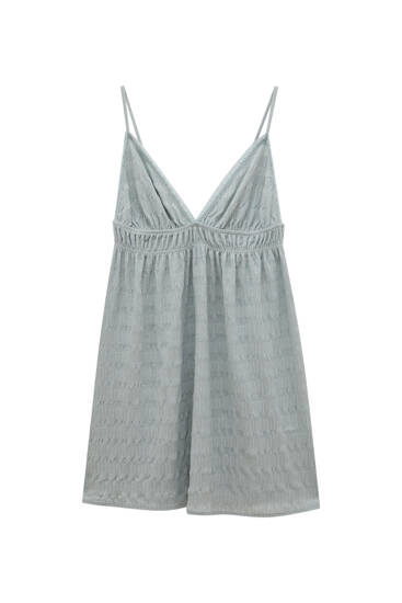 Kratka haljina s naramenicama i čipkastim obrubima