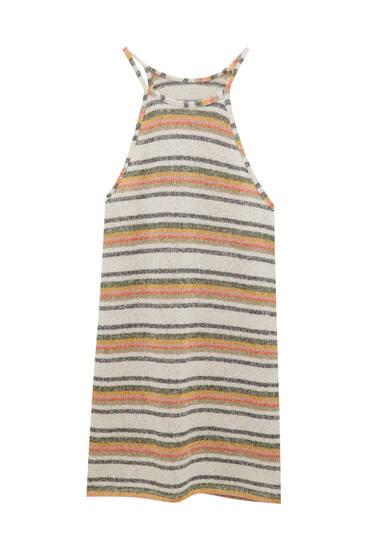 Strappy striped knit dress