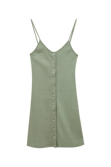 Short strappy ribbed dress with buttons - ecologically grown cotton (at least 95%)
