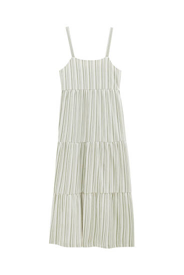 Long striped dress with straps
