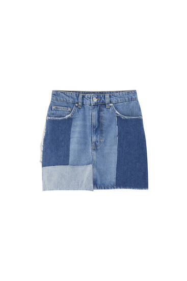 Patchwork denim mini skirt - contains recycled cotton