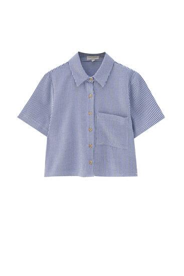 Рубашка в полоску из ткани в стиле рустик