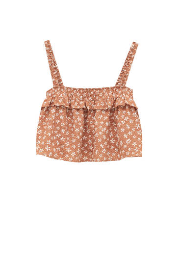 Flowing, printed strappy top