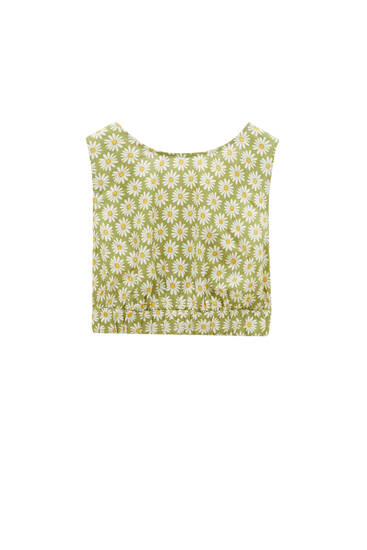 Green daisy-print crop top - ECOVERO™ viscose (at least 75%)