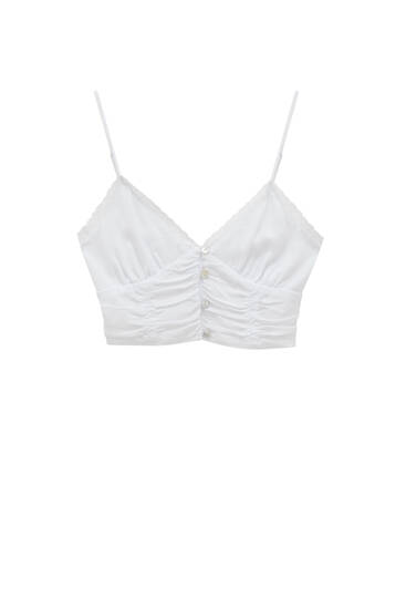 White strappy crop top - ECOVEROTM viscose (at least 50%)