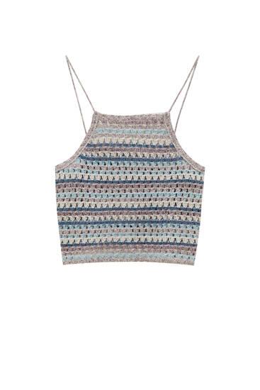 Top crochet rayas cuello halter