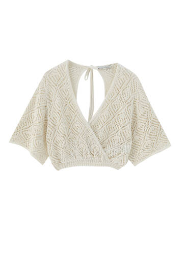 Short sleeve open knit wrap sweater