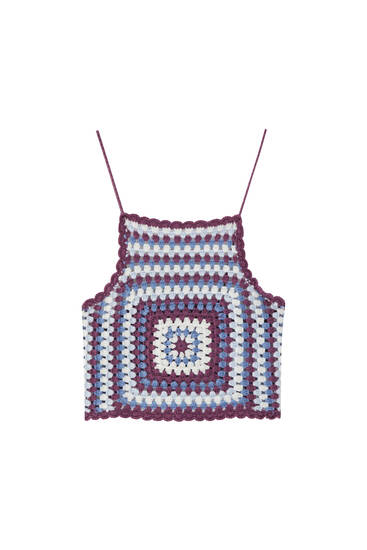 Crochet top with thin straps