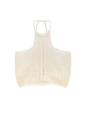 Open-knit halter top