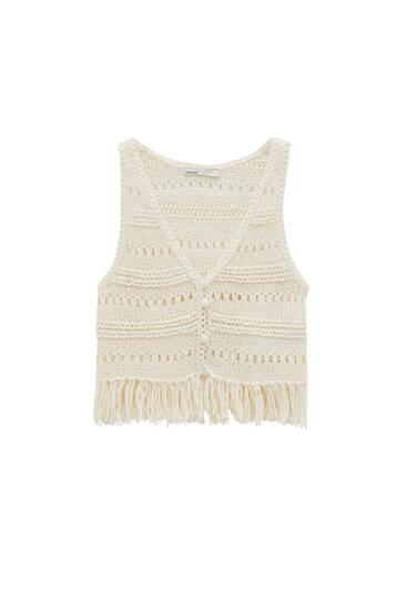 Crochet waistcoat with fringing