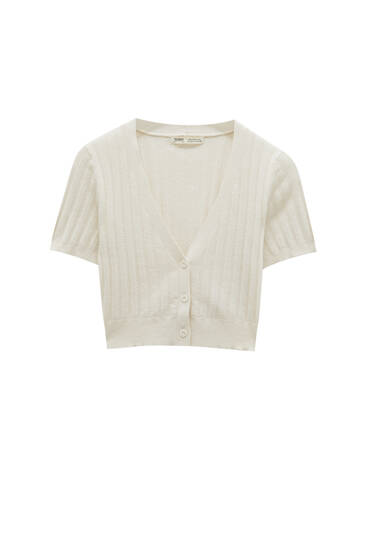 Cropped tricot vest