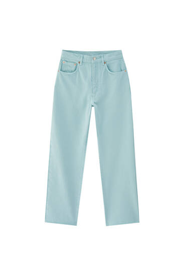 Green straight-leg trousers - contains recycled cotton