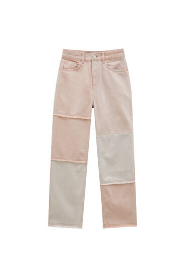 Pink patchwork jeans