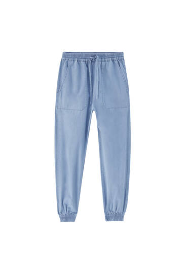 Jogger jeans with elastic hems