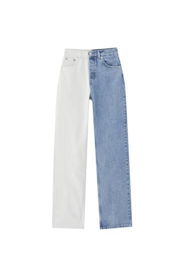 Jeans retas de cintura subida em color block
