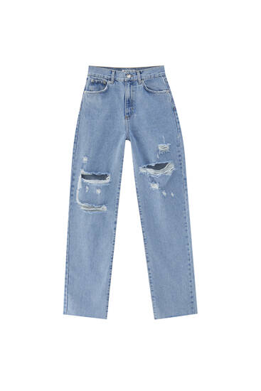 Jeans retas de cintura subida com rasgões