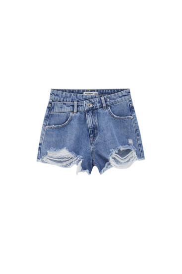 Ripped denim shorts with crossover waistband