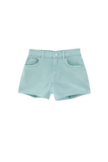 High-waist colourful denim shorts