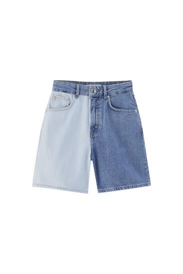 Colour block denim Bermuda shorts - contains recycled cotton