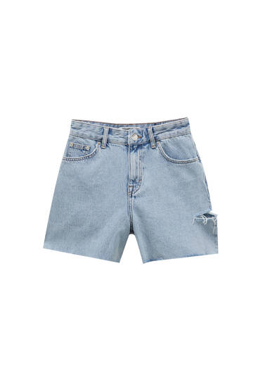 Denim Bermuda shorts with ripped sides