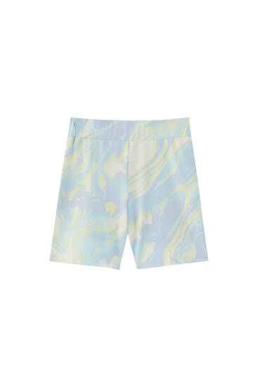 Seamless cycling shorts with wavy tie-dye print