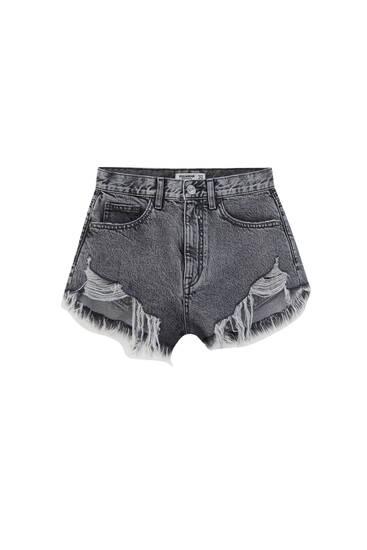 Джинсовые шорты с необработанной кромкой