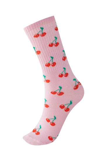 All-over cherry print sports socks