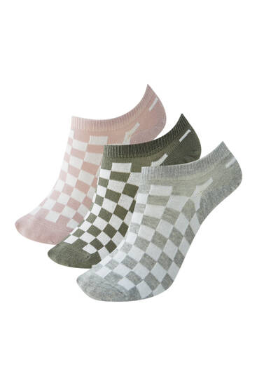 Pack of 3 check print socks