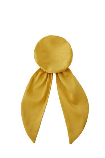 Cache chignon jaune moutarde satiné