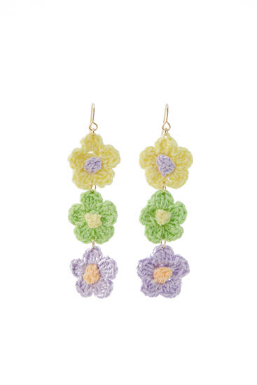 Pendientes flores crochet