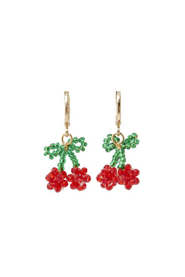 Cherry hoop earrings