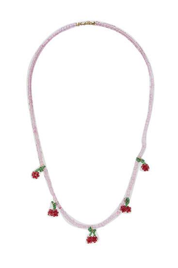 Beaded cherry necklace