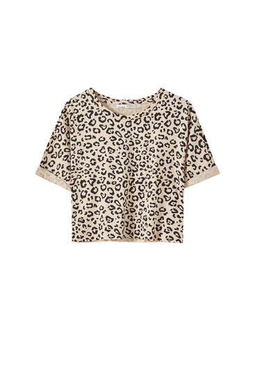 Animal print T-shirt with piped seams
