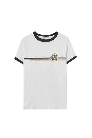 Ribbed T-shirt with stripes