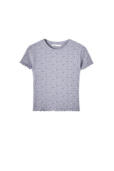 Printed check texture T-shirt