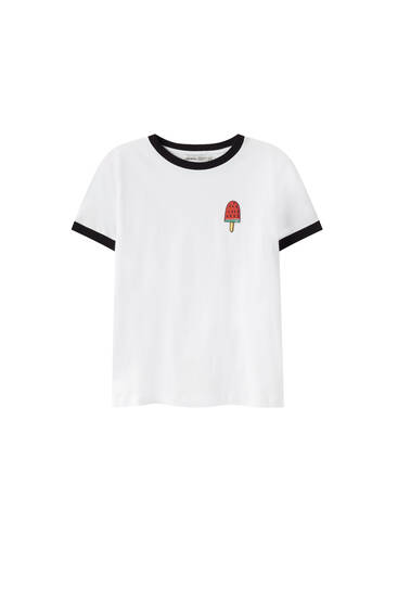 Graphic T-shirt with contrast ribbing