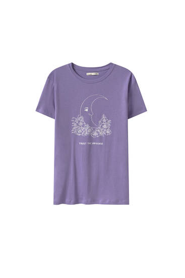 Mauve T-shirt with moon graphic