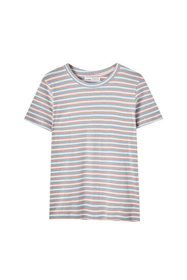 T-shirt basique rayures col rond