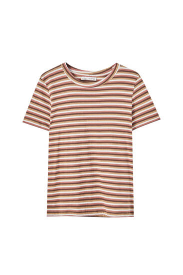 Basic striped round neck T-shirt