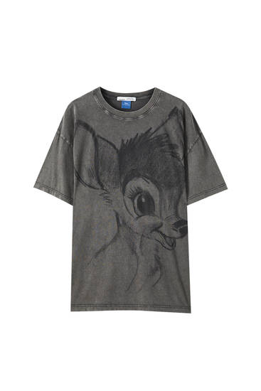 Black T-shirt with Bambi illustration