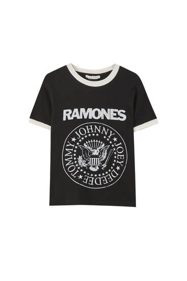 Black Ramones T-shirt with trim