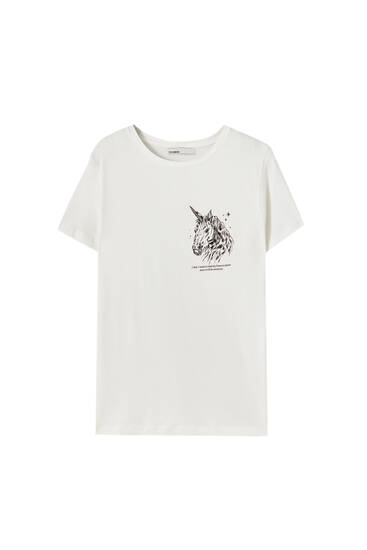 White unicorn T-shirt - 100% ecologically grown cotton