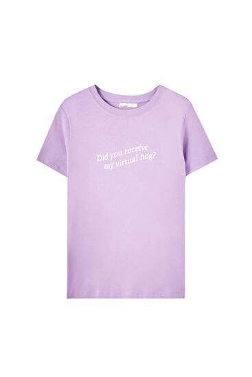 T-Shirt mit Slogan auf der Brust - 100% Biobaumwolle
