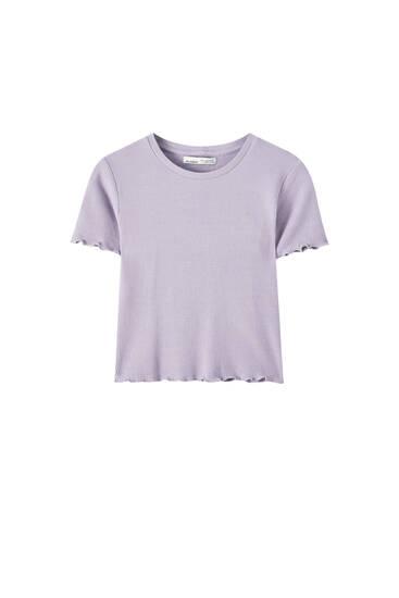 Базовая футболка из ткани полотняного плетения с волнистой кромкой