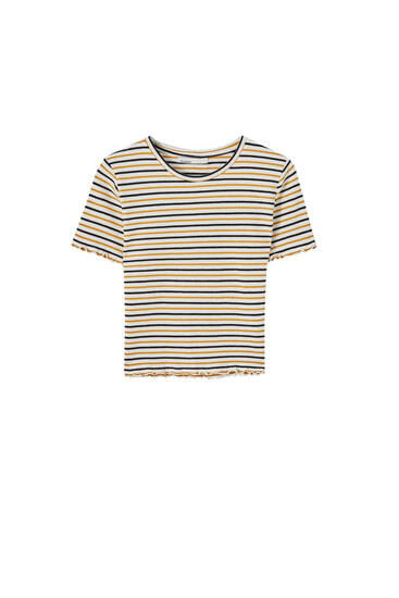 Short sleeve striped check texture T-shirt