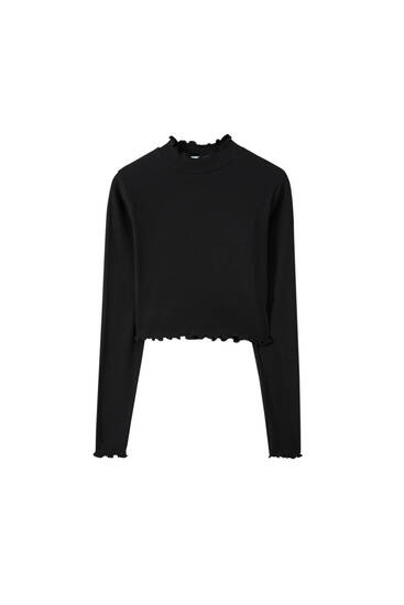 Long sleeve lettuce edge T-shirt