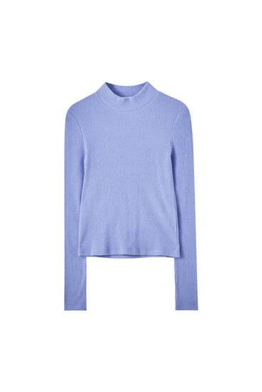 Weiches Shirt mit geripptem Stehkragen