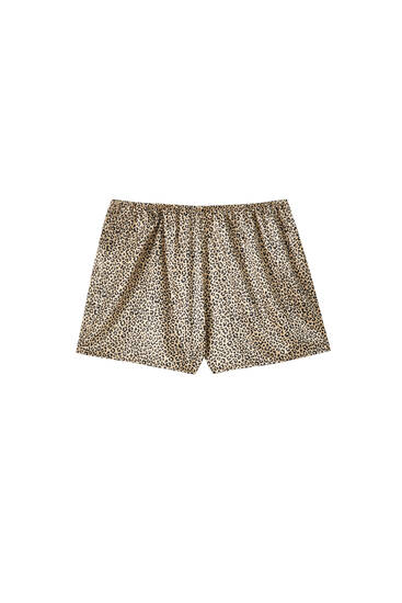Lace-trimmed leopard print shorts