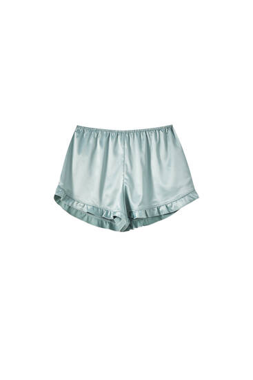Lace-trimmed satin shorts with ruffles