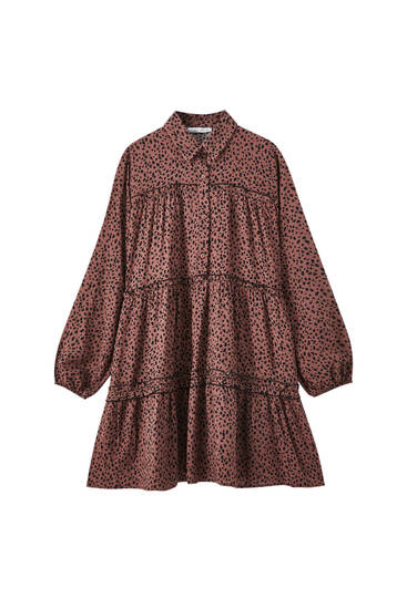Printed flowing shirt dress with ruffles